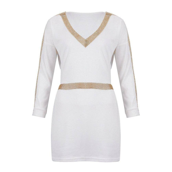 Women Party Night Clbu Wear Sexy Low Cut Patchwork Long Sleeve Elastic Waist Women Mini Dress 2020 Sexy Dress 2020