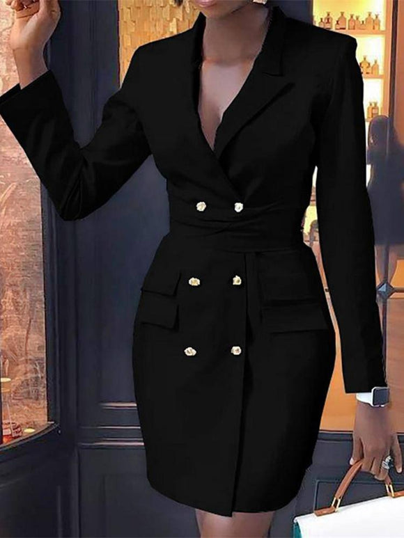 Women Autumn Fashion Elegant Office-Lady Ol Workwear Casual Mini Dress 2020 V-Neck Double Breasted Formal Bodycon Dress 2020