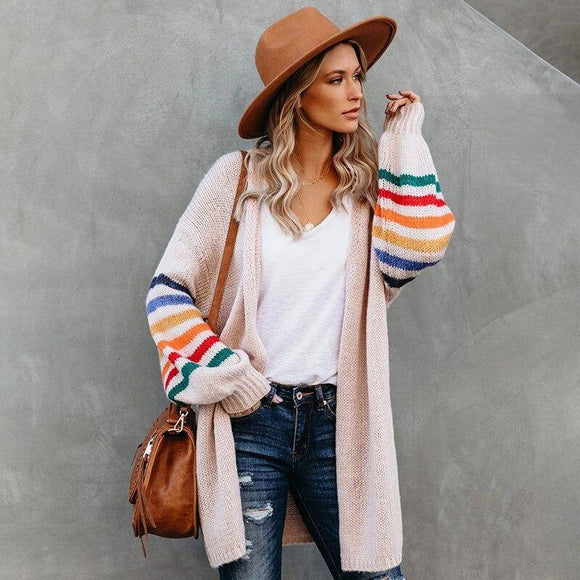 Rainbow Striped Boho Cardigan Winter Long Coat Female Knitwear Pink Slim Sweater 2020 Cardigans For Women Clothes