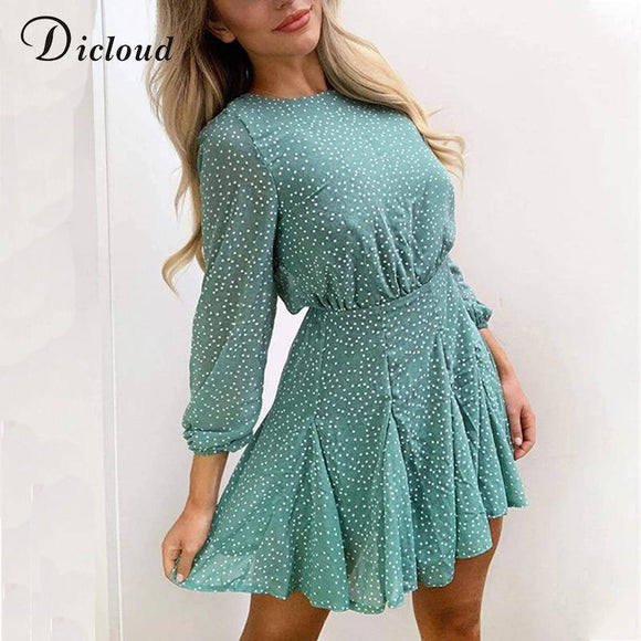 Polka Dot Long Sleeve Dress 2020 Green Women Autumn Winter Long Sleeve Party Dress 2020 Elegant Ruffle Detail Day Dress 2020 Ladies