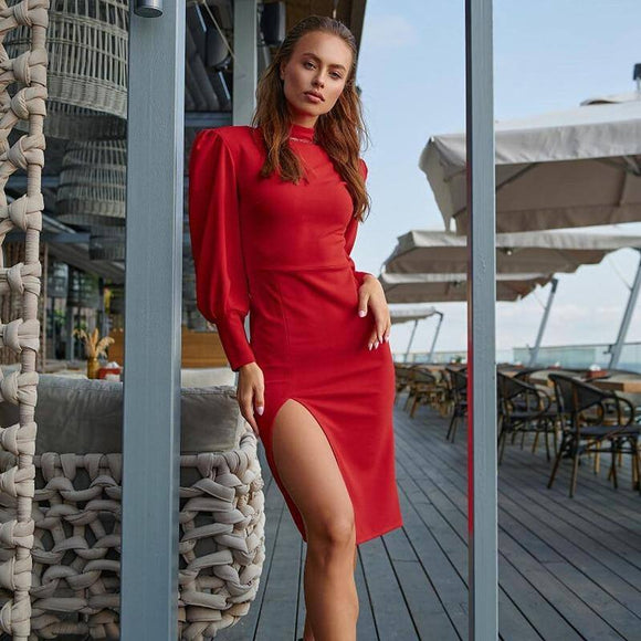 Long Sleeve Red Sexy Dress 2020 Women Sexy Slim Red Split Dress 2020 Ladies Casual O Neck Red Puff Sleeve Dresses 2021 Spring Autumn Fashion Elegant Solid Color Party Red Night Dress 2021
