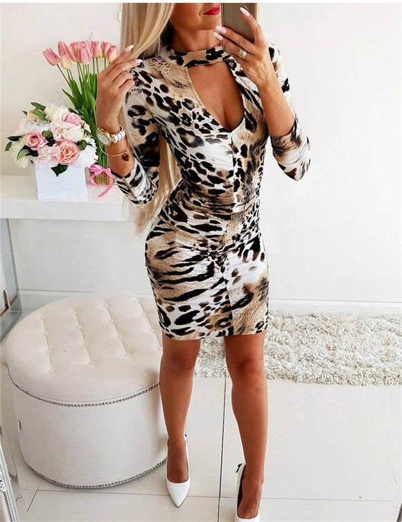 Fashion Women Sexy Leopard Print Bodycon Dress 2020 Ladies Party Evening Casual Long Sleeve Mini Dress 2020 Deep V-Neck Clubwear Dress 2020 New