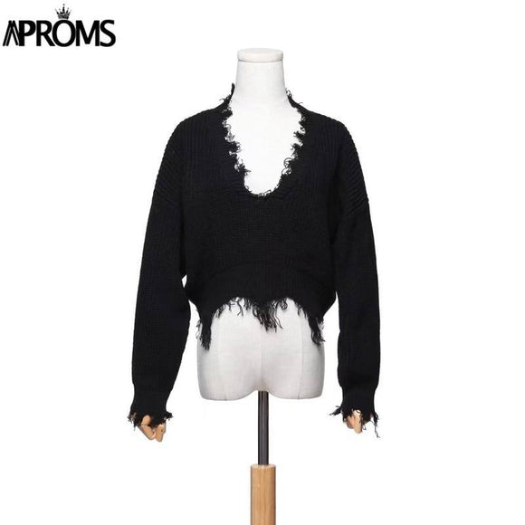 Aproms Tassel Deep V Knitted Pullover Female Autumn Winter White Long Sleeve Knit Crochet Sweaters Women Cropped Jumper Pull Top