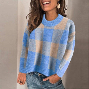 Autumn Winter New Women Sexy O-Neck Sweater Casual Long Sleeve Jumper Elegant Plaid Top 2020 Pullover