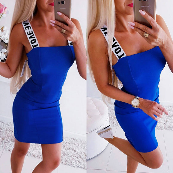Women Dress 2020 Sexy Bodycon Dress 2020 Halter Zipper Letter Parinted Blue Sleeveless Party Dress 2020 Sexy Dress 2020