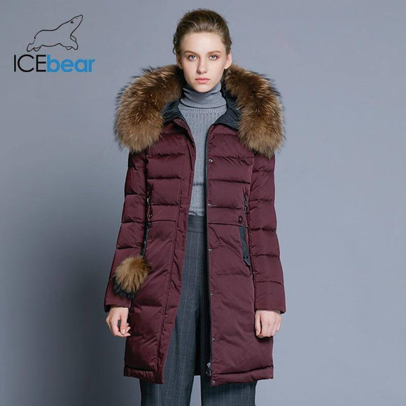 Winter Women'S Coat 2020 Long Slim Female Jacket Animal Fur Collar Brand Clothing Thick Warm Windproof Parka Gwd18253