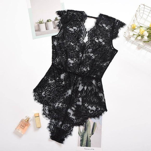 Ellolace Lace Bodysuit Lace Deep-V Bodycon Women Rompers Lace Body Female Sleeveless Body Suit Black Transparent Bodysuits