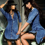 Sale Women Button Down Denim Sexy Dress 2020 Ladies Lace Jeans Long Top Shirt Dress 2020 Women Summer Sexy Club Dress 2020 With Tassel D30