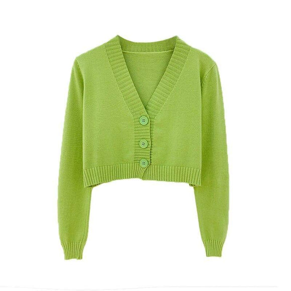 Knitted Crop Cardigan Women Korean Short Sweater 2020 Long Sleeve V Neck Green Blue