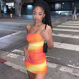 Tie-Dye Neon Lace Up Bodycon Mini Dress 2020 Womens Street Fashion Beach Leisure Vacation Hollow Dress 2020 Summer New Mujer