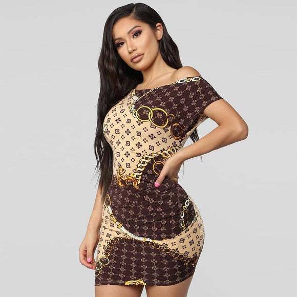 New Fashion Explosion Section Oblique Necklace Gold Chain Print Sexy Tight Dress 2020 Casual Ladies Short Dress 2020
