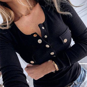 Cotton Women Spring O Neck Pullover Long Sleeve T Shirt Loose Leisure Buttons Feminina Tee Female Top 2020 Plus Size S-2Xl
