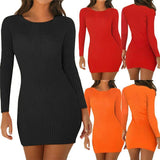 Long Sleeve Slim Knitted Scoop Neck Stretch Dress 2020 Cotton Bodycon Short Mini Pencil Dress 2020 New Fashion Solid Women Clothing