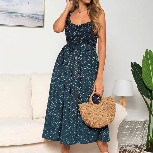 Sexy Summer Sleeveless Slip Dress 2021 Women Strapless Bow Button Loose Bandage Pleated Polka Dot Sundress Casual Backless Vestidos