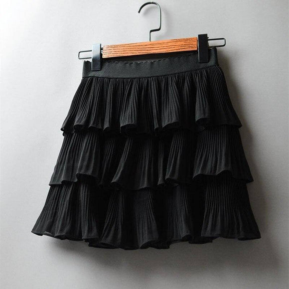 Sexy Skirt Summer Women Elasticity Waist Mini Skirt 2021 Ladies Chiffon Skirt 2021 Ladies Casual Cake Skirt 2021 Black White Femme Pleated Skirt 2021