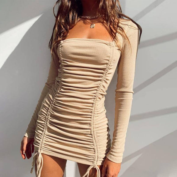 Autumn Women Dress 2020 Winter Sexy Long Sleeve Beige Solid Casual Mini Bodycon Knitted Dress 2020 For Women Female