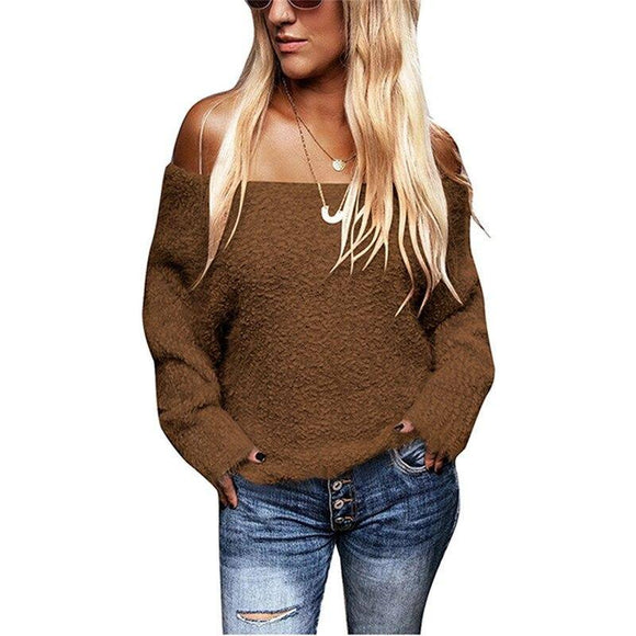 Fashion Women Sexy Off Shoulder Knitted Sweater 2020 Elegant Pullovers Spring Tops Ladies Truien Dames Knitwear Streetwear
