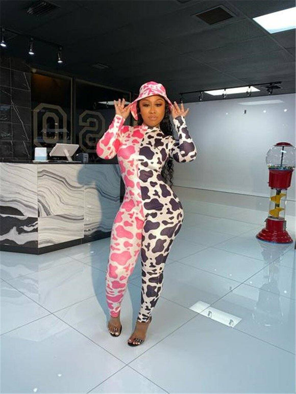 Cow Pattern Print Patchwork Jumpsuit Romper 2020 One-Piece Sexy Women Deep V-Neck Long Sleeve Zip Up Jumpsuit Club Streetwear