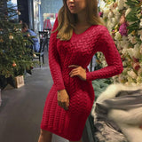 Casual Solid Red Sweaters Dress 2020 Women Autumn Winter Thick Bodycon Midi Sweaters Jumpers Knitted Pullovers Female