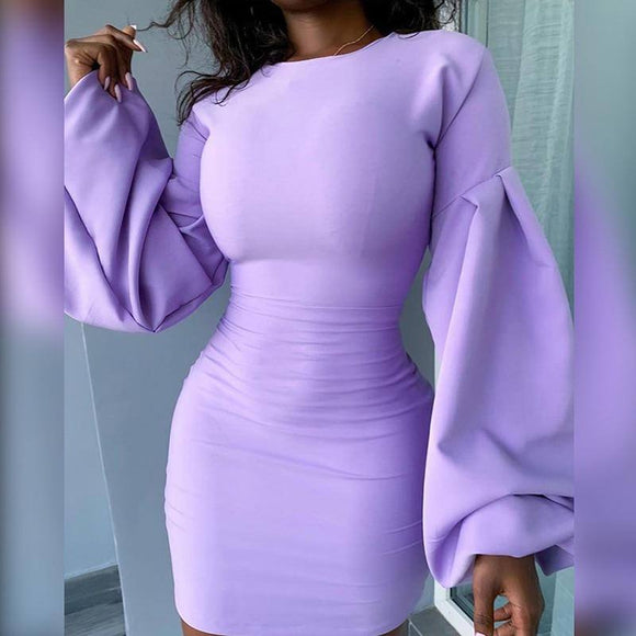 Elegant Purple Female Fall Dress 2020 Chic Sheath Long Lantern Sleeve Party Mini Dress 2020 Mujer Stretchy Casual High Streetwear