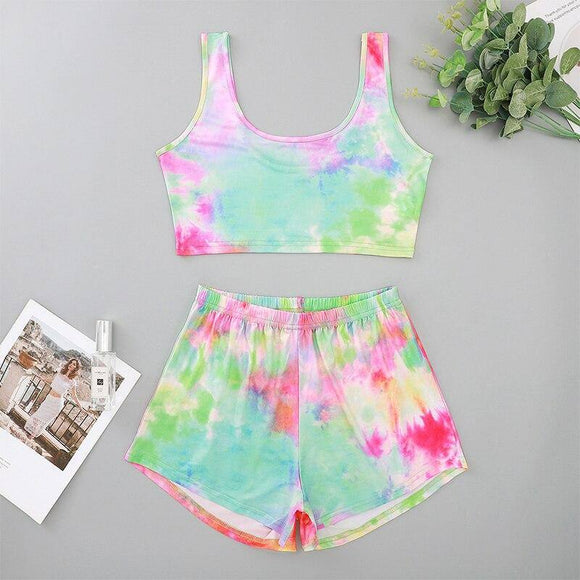 Fashion Sexy Tie Dye Sleeveless Women Crop Top 2020 Elastic Waist Women Shorts Two Pieces Women Sets Womens Tracksuit Set