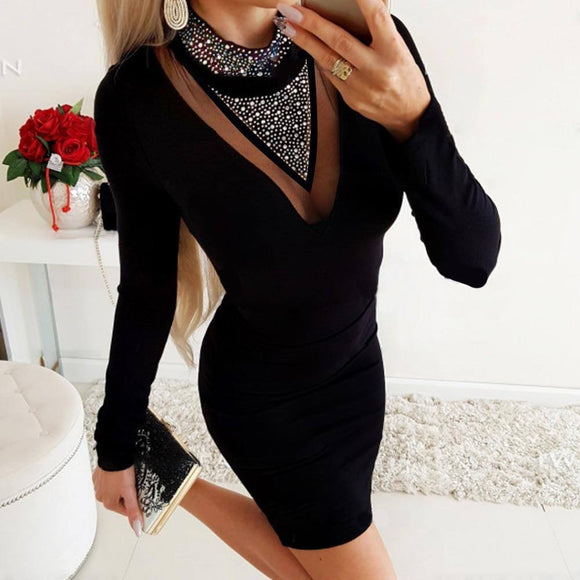 Rhinestone Black Wrap Dress 2020 Bodycon Women'S Sexy Long Sleeve Stand Collar Winter Dress 2020 New Female Slim Dress 2020 Vestidos D30