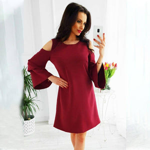 Sale Daily Women'S Dress 2020 Ruffle Long Sleeve Dress 2020 For Women Red Wine Off Shoulder Dress 2020 Clothing Female Robe Femme D30