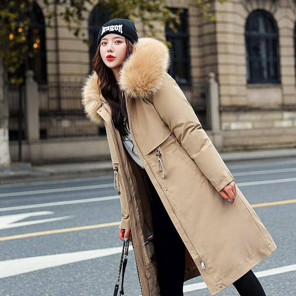 New Fashion Winter Jacket 2020 Women Big Fur Hooded Thick Down Parkas 2020 Long Female Jacket 2020 Coat 2020 Slim Warm Winter Outwear Women's Trench Coat 2020