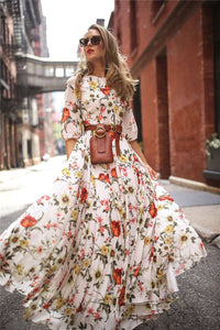 New Fashion Hot Sale Women'S Maxi Boho Dress 2020 Floral Print High-Waist Three-Quarter Sleeve Lady Summer Beach Long Sundress S-Xl