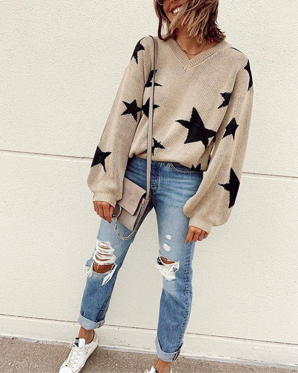 Stars Autumn Winter Women Sweater 2020 And Pullovers Lantern Sleeve Khaki Pull Femme Knitted Jumper Sweater 2020 Ladies