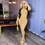 Solid Women Midi Dress 2020 Long Sleeve Gloves Hollow Out Backless Bodycon Sexy Party Elegant Streetwear Autumn Winter