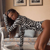 Sexy Women Long Sleeve Turtleneck Bodysuit Jumpsuit Clubwear Animal Zebra Print Bodycon Party Bodysuit Stretch Slim Leotard Top 2020