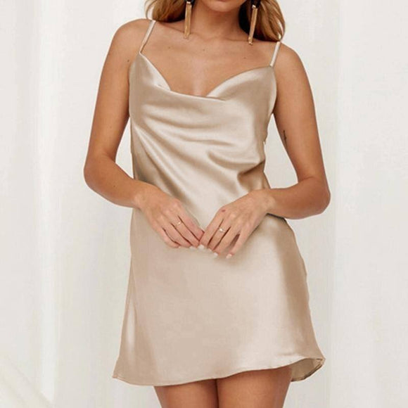 Sexy Champagne Satin Party Dress 2021 Night Club Women Sleeveless Summer Sundress Solid Bodycon Dress 2021 Female