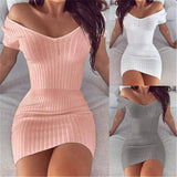 New Spring Summer Women Short Sleeve Mini Dress 2020 Sexy Casual Solid Beach Party Dress 2020 V Neck Sheath Female Fashion Vestidos
