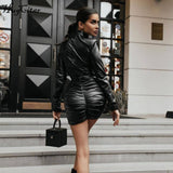 Long Sleeve Pu Leather Shoulder Padded Stacked Sexy Mini Dress 2020 Autumn Winter Women Fashion Streetwear Party Wear