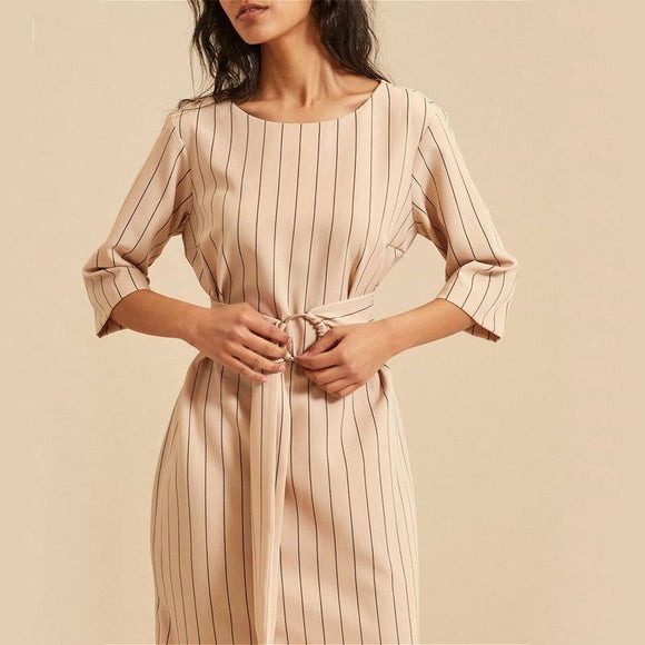 Women Elegant Striped Dress 2020 With Sashes O-Neck Half Sleeve Split Midi Dress 2020 Office Ladies Streetwear Autumn New