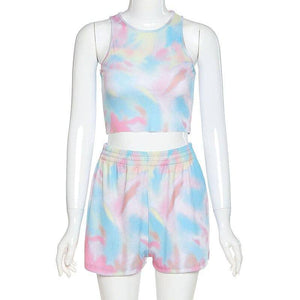 Winter Tops 2020 Summer Women Sport 2 Two Piece Set Outfits Tie Dye Printed Sleeveless Top 2020 Tshirt Shorts Set Tracksuit