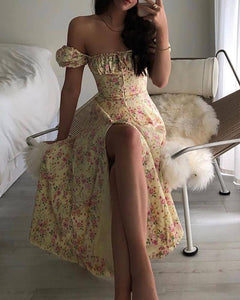 Floral Print Ruched Puff Sleeve High Slit Maxi Dress 2020 Party Dress 2020 Vestidos