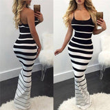 Hirigin New Women Summer Sexy Striped Slim Dress 2020 Off Shoulder Casual Bandage Bodycon Evening Party Long Maxi Dress 2020 Skinny