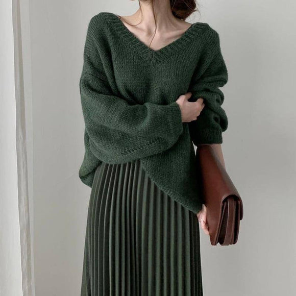 Sexy Skirt New Autumn Winter Knitted 2 Pieces Set Women Sexy V Neck Dot Pullover Sweater +Elastic High Waist Pleated Skirt 2021 Suits Tz551