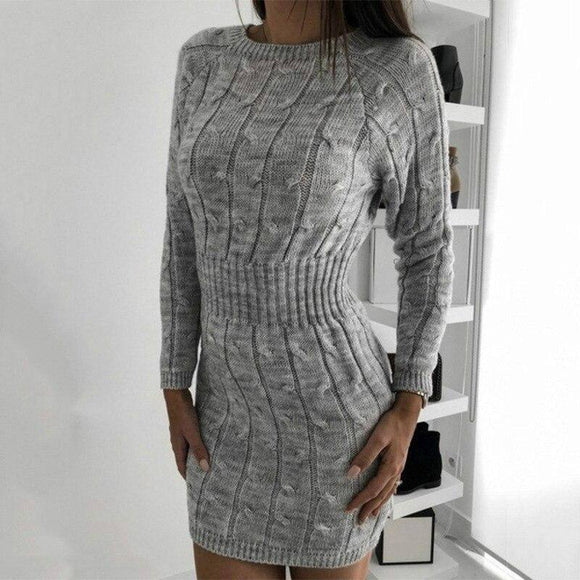 Winter Warm Knitted Mini Dress 2020 Woemn Long Sleeve Bodycon Ol Sweater Derss Elegant Ladies Slim Stretch Casual Plain Streetwear
