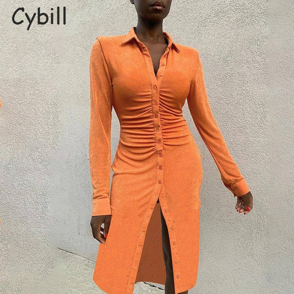 Cybill Long Sleeve Button Casual Shirt Dress 2021 Black Turndown Autumn Midi Dress 2021 Basic Orange Winter Women Straight Dress 2021