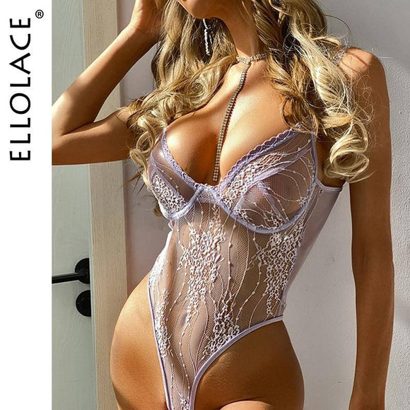 Ellolace Body Sexy Lace Bodysuit Women's Overalls Bodycon Female Jumpsuit Transparent Body Suit Bodys for Women Dropshipping