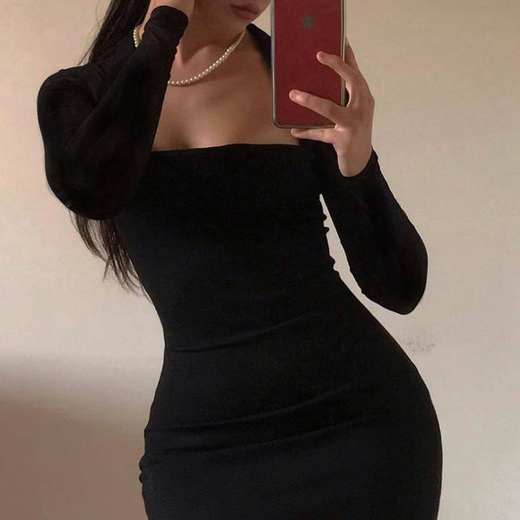 Vintage Square Collar Long Sleeve Black Dress 2020 Women High Waist Bodycon Basic Short Sexy Dress 2020 Woman Party Night