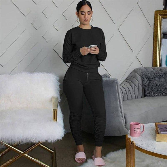CHRONSTYLE Fashion Women 2 Pieces Set Tracksuits 2020 New Long Sleeve Solid Color Pullover T-shirt High Waist Lace-up Long Pants
