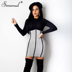 Ribbed Patchwork Bodycon Long Sleeve Mini Dress 2020 For Women Autumn Winter Fashion Skinny Clubwear Party Dress 2020 Hot
