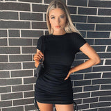 Ruched Drawstring Bodycon Dress 2020 Women Sexy Short Sleeve Club Party Dress 2020 Ladies Solid Skinny Elegant Dress 2020 Summer
