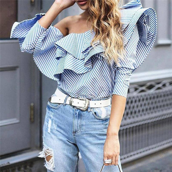 Off Shoulder Women Sexy Top 2020 Shirt Fashion Elegant Stylish Long Sleeve Stripes Spring Summer Blouse Ruffles Cropped Blusas Xxl