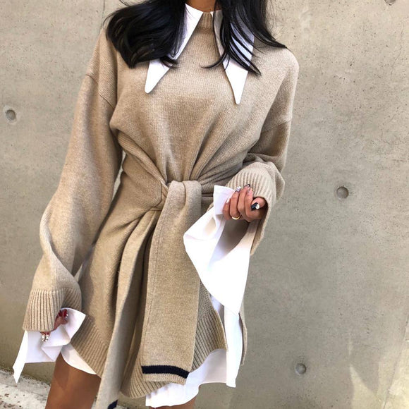 Long Sleeve Dresses 2020 Vinstudio Autumn Lace Up Long Sleeve Knitting High Waist Medium Length Sweater Cardigan Split Thin Dress 2020 For Women