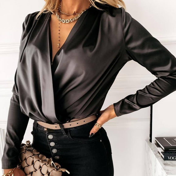 Women Elegant Satin Blouse Front Cross Wrinkle Sexy Deep V-Neck Long Sleeve Casual Pullover Top 2020 Autumn Fashion New Shirt